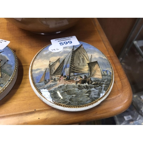 599 - A VINTAGE 'PRATTWARE' POT LID OF BOATS IN CHOPPY WATERS...
