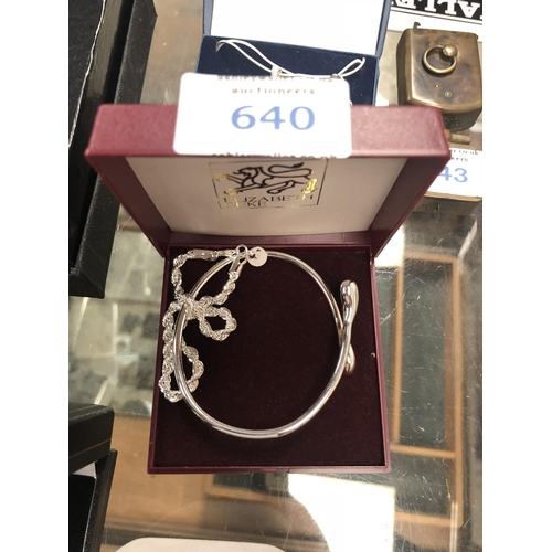 640 - A LADIES BOXED BRACELET AND BANGLE SILVER SET...