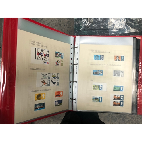 646 - AN INTERESTING MIX OF STAMPS HOUSED IN A GREEN BOX AND RED BINDER, NOTED GB, GERMANY, USA PLUS LOOSE...