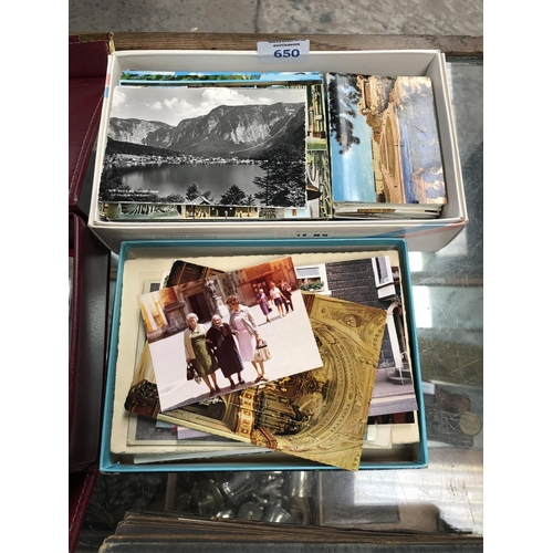 650 - TWO BOXES OF ASSORTED POSTCARDS (QTY)...