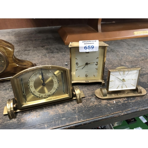 659 - A 'SOLO' BRASS CASED CLOCK TOGETHER WITH TWO FURTHER CLOCKS (3)...