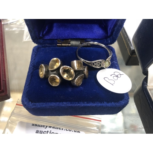 764 - TWO LADIES SILVER RINGS, BOXED...
