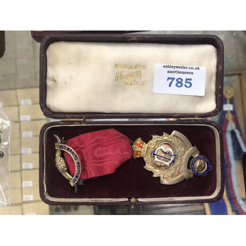 785 - A BOXED HALLMARKED SILVER MASONIC MEDAL AND RIBBON...