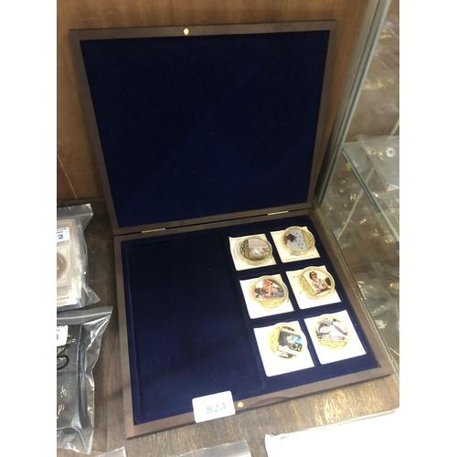 823 - A CASED SET OF SIX MEDALIONS DEPICTING THE QUEEN ELIZABETH DIAMOND JUBILEE , 2012 . EACH IS ENCAPSUL...