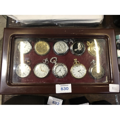 830 - A BOX OF TEN ASSORTED POCKET WATCHES (10)...