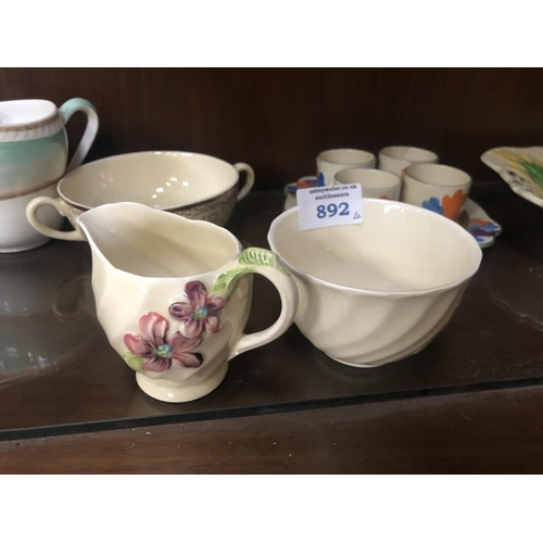 892 - TWO PIECES OF CLARICE CLIFF FOR ROYAL STAFFORDSHIRE POTTERY ITEMS COMPRISING A JUG AND BOWL (2)...