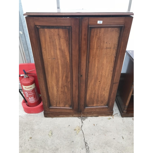 901 - A 'GILLOWS' MAHOGANY CABINET WITH TWO DOORS AND THREE INNER FITTED DRAWERS WITH RECESSED BRASS HANDL...
