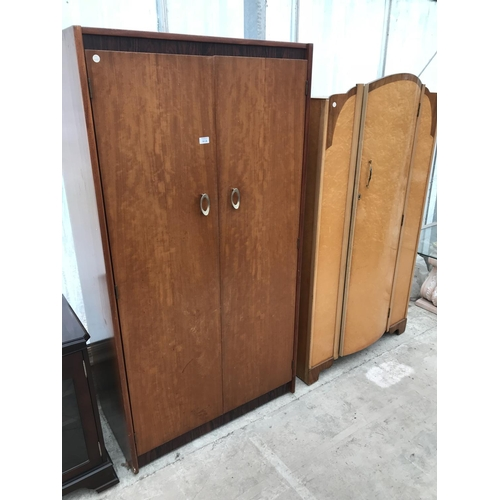 918 - TWO WARDROBES - ONE TEAK AND ONE BIRD'S EYE MAPLE...