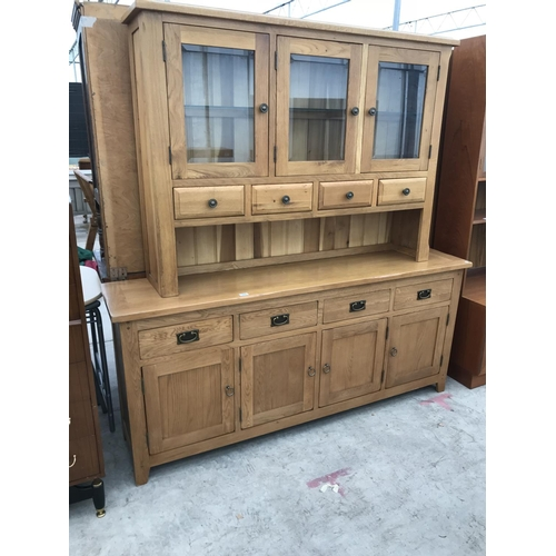 958 - A MODERN OAK DRESSER WITH FOUR LOWER DOORS AND DRAWERS, THREE UPPER GLAZED DOORS AND FOUR FURTHER DR...
