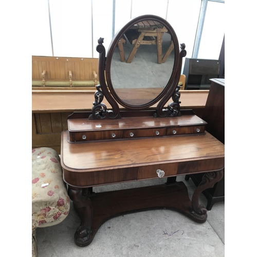 970 - A VICTORIAN MAHOGANY DRESSING TABLE WITH ONE LONG AND THREE SHORT DRAWERS WITH GLASS EFFECT HANDLES ...