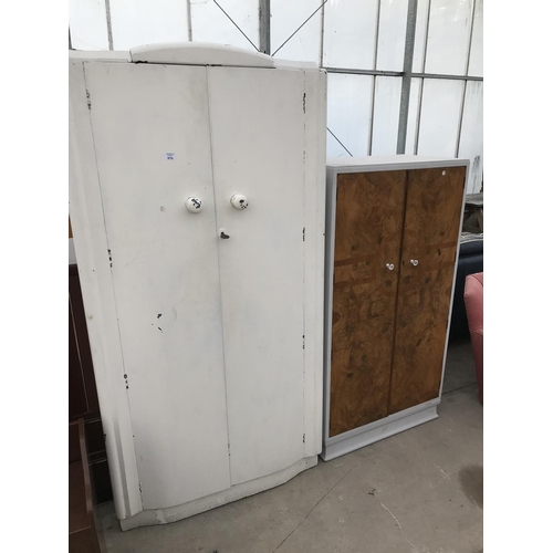 976 - A WHITE WARDROBE AND A PAINTED CABINET WITH WALNUT DOORS...