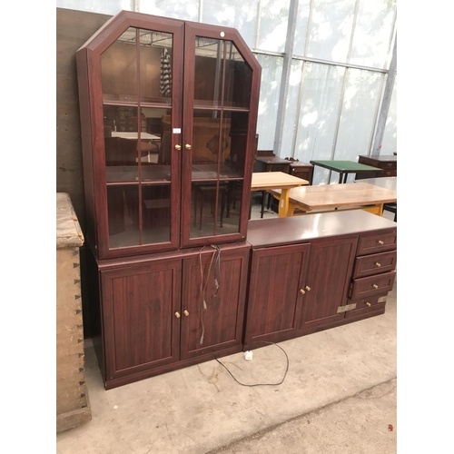 991 - A MAHOGANY EFFECT SIDEBOARD AND CABINET...