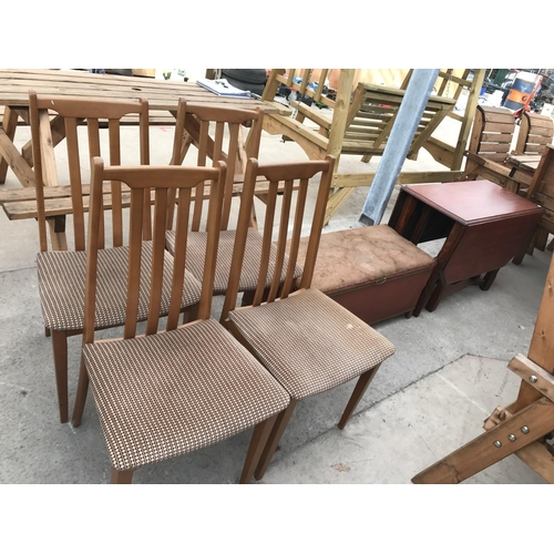 1062 - SIX ITEMS - FOUR TEAK DINING CHAIRS, A LLOYD LOOM STYLE OTTOMAN AND AN OAK DROP LEAF DINING TABLE...