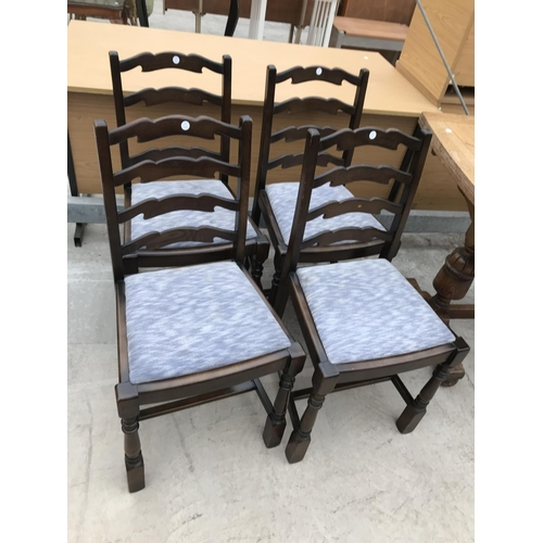 1086 - FOUR OAK LADDER BACK DINING CHAIRS...