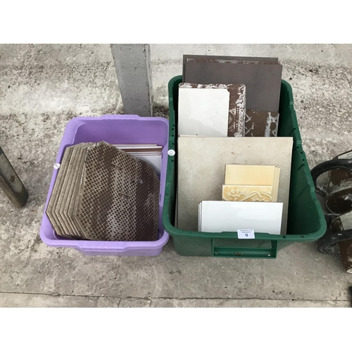 9 - TWO BOXES OF VARIOUS MIXED TILES...