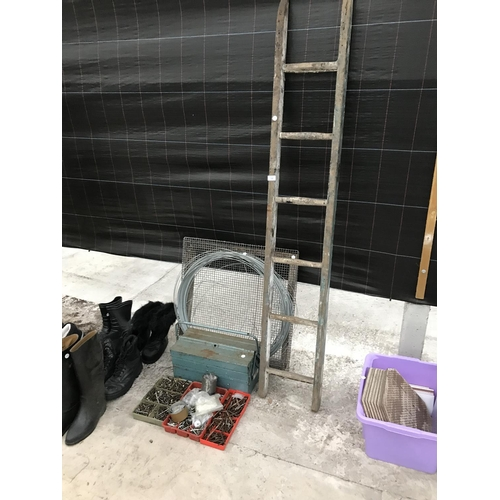 10 - A VINTAGE SIX RUNG WOODEN LADDER, A METAL TOOL BOX, THREE BOXES OF SCREWS, A LARGE GARDEN SIEVE AND ...