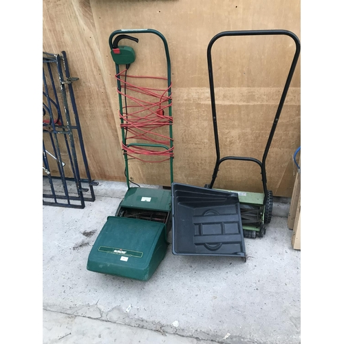 54 - A QUALCAST E30 DELUXE ELECTRIC MOWER AND A PERFORMANCE HAND PUSH MOWER...
