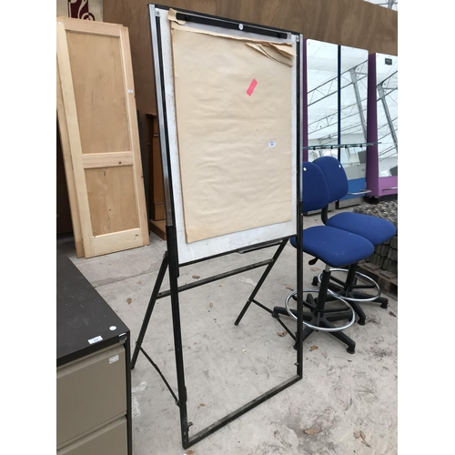 89 - A FLIP CHART STAND AND TWO OFFICE SWIVEL CHAIRS...