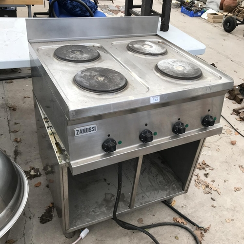 192 - A CATERING COMMERCIAL 'ZANUSSI' FOUR HOB COOKER - 3 PHASE W/O...