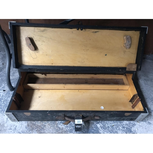 253 - A VINTAGE WOODEN TOOL CHEST...