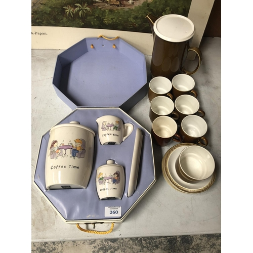 260 - A CASED 'TABLE TOPS' POTTERY COFFEE SET TOGETHER WITH FURTHER RETRO 'POOLE' COFFEE SET...
