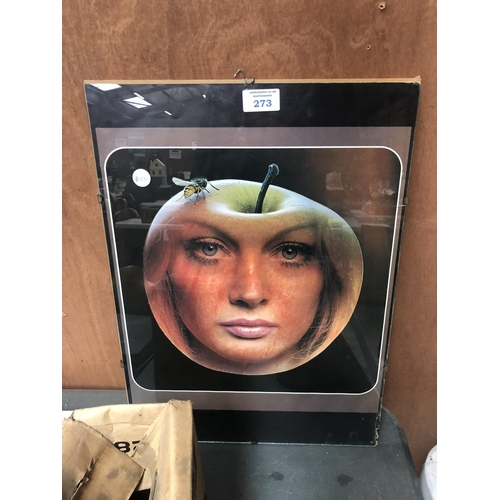 273 - A MOVIES PRINT OF A LADY IN AN APPLE...