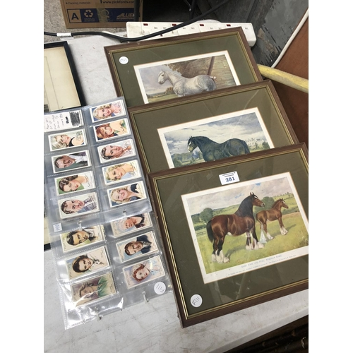281 - THREE FRAMED HORSE PRINTS TOGETHER WITH CIGARETTE CARDS...