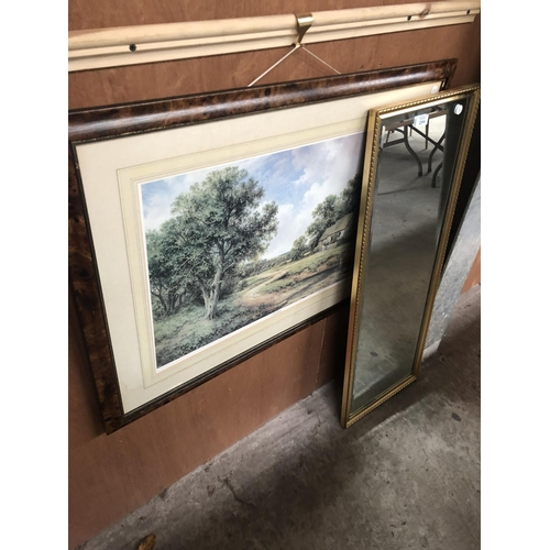 294 - A WALNUT EFFECT FRAMED PRINT OF A COTTAGE BY A RIVER TOGETHER WITH A FURTHER GILT FRAMED RECTANGULAR...