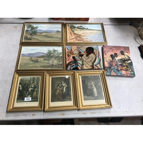 299 - A COLLECTION OF 6 FRAMED PICTURES TO INCLUDE ORIGINAL OIL PAINTING OF A HILLY LANDSCAPE, ETC (6)...