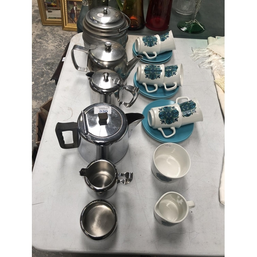 330 - A RETRO KITSCH STYLE MEAKIN CUPS AND SAUCER PART TEA SET, STAINLESS STEEL KITCHEN WARE ETC...