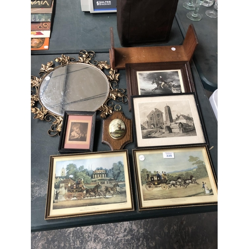 335 - A GROUP OF MIXED ITEMS TO INCLUDE COACHING PRINTS BY JAMES POLLARD, GILT MIRROR, 1960's CHURCH BOOK ...