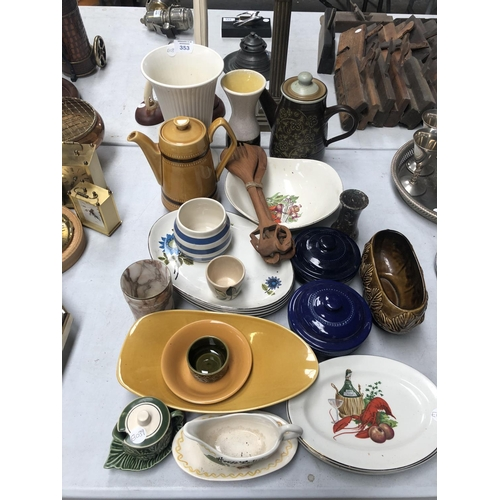 353 - A LARGE COLLECTION OF ASSORTED CERAMICS TO INCLUDE TEAPOT, PLATES ETC (QTY)...