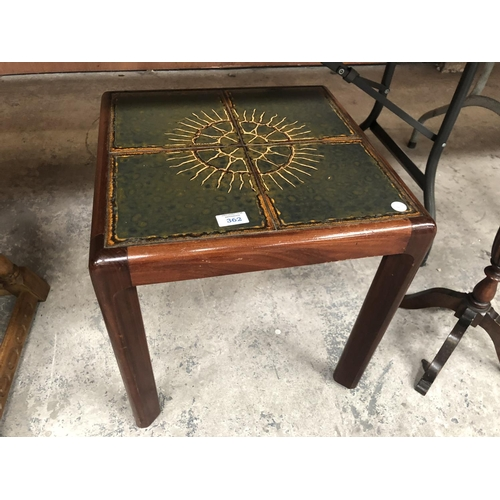 362 - A RETRO 'G-PLAN' TILE TOP SQUARE COFFEE TABLE...