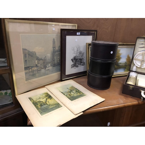 408 - VARIOUS FRAMED PICTURES, GRADUATED HAT BOXES ETC...