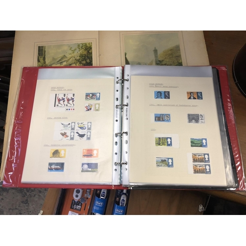 416 - AN INTERESTING MIX OF STAMPS HOUSED IN A GREEN BOX AND RED BINDER, NOTED GB, GERMANY, USA PLUS LOOSE...