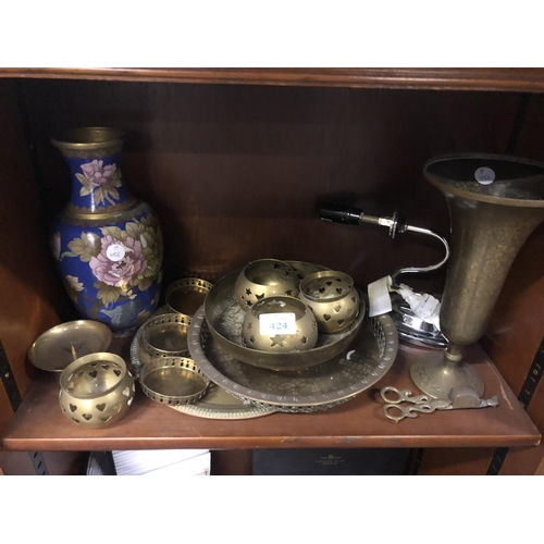424 - MIXED BRASS WARE ITEMS, CHINESE CLOISONNÉ VASE ETC (QTY)...