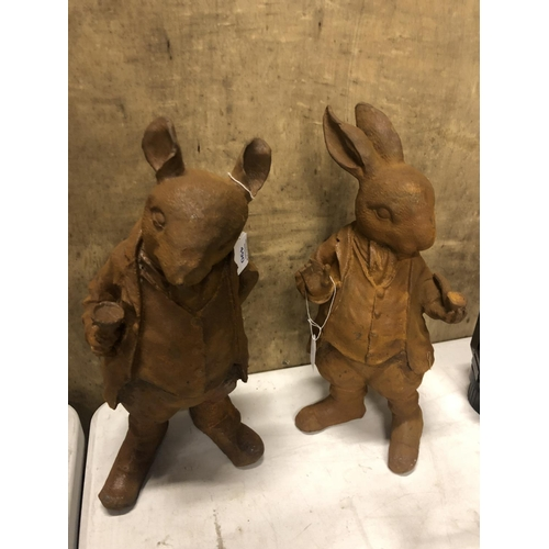 490 - A PAIR OF HEAVY CAST METAL PETER RABBIT FIGURES TO INCLUDE 'PETER' & 'MOLE' (2)...