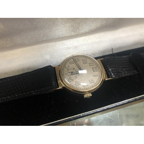 552 - A GENTS VINTAGE 9CT GOLD CASED 'TITUS' GENEVE, BOXED...