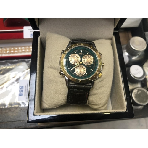 559 - A BOXED GENTS 'LORUS' CHRONOGRAPH WATCH, WORKING...