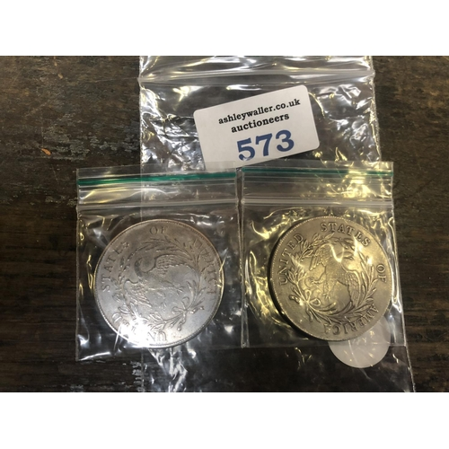 573 - TWO COLLECTABLE COINS...