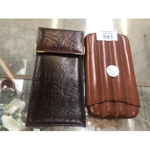 591 - TWO VINTAGE LEATHER CIGAR CASES (2)...