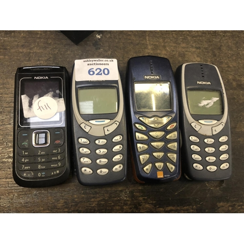 620 - FOUR 'NOKIA' MOBILE PHONES...