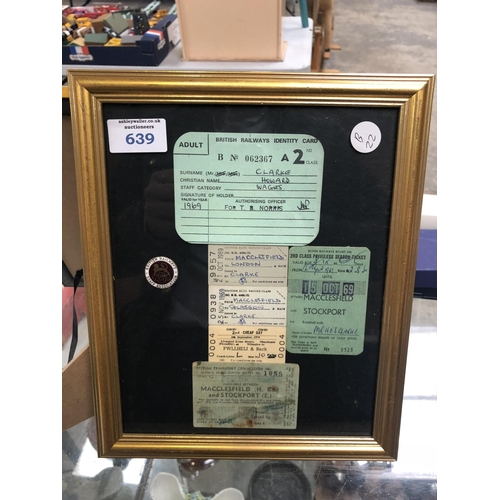 639 - A FRAMED 'BRITISH RAILWAY' TICKETS AND BADGE...