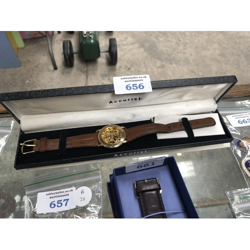 656 - A GENTS BOXED 'ACCURIST' SKELETON WATCH, WORKING...