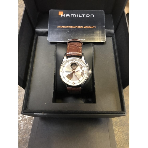 694 - A GENTS BOXED HAMILTON 'VIEWMATIC' 25 JEWEL AUTOMATIC WATCH...