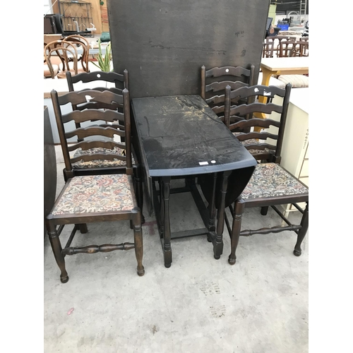 848 - AN OVAL DROP LEAF DINING TABLE AND FOUR LADDER BACK DINING CHAIRS...