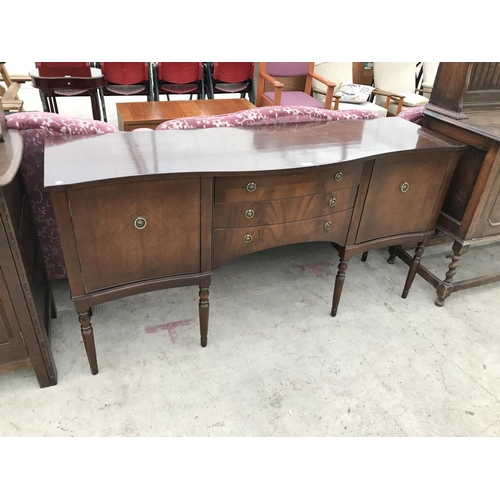 852 - A MAHOGANY SIDEBOARD WITH TWO DOORS AND THREE DRAWERS...