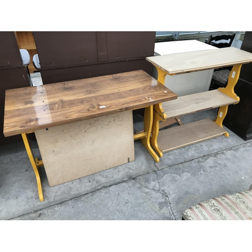 865 - A PINE AND PAINTED TABLE AND MATCHING THREE TIER SHELF...