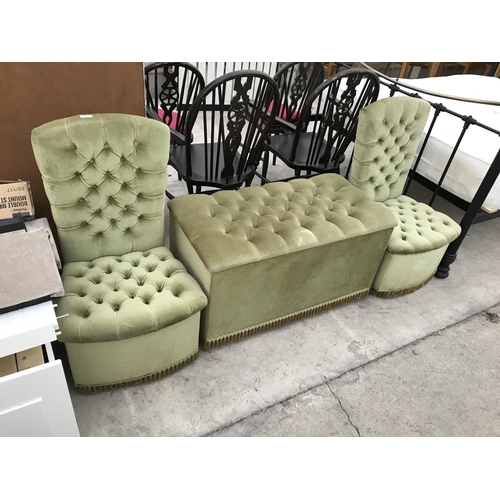870 - A GREEN FABRIC OTTOMAN AND TWO MATCHING BUTTON BACK BEDROOM CHAIRS...