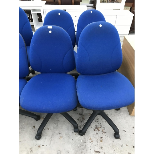 909 - FOUR BLUE OFFICE CHAIRS...
